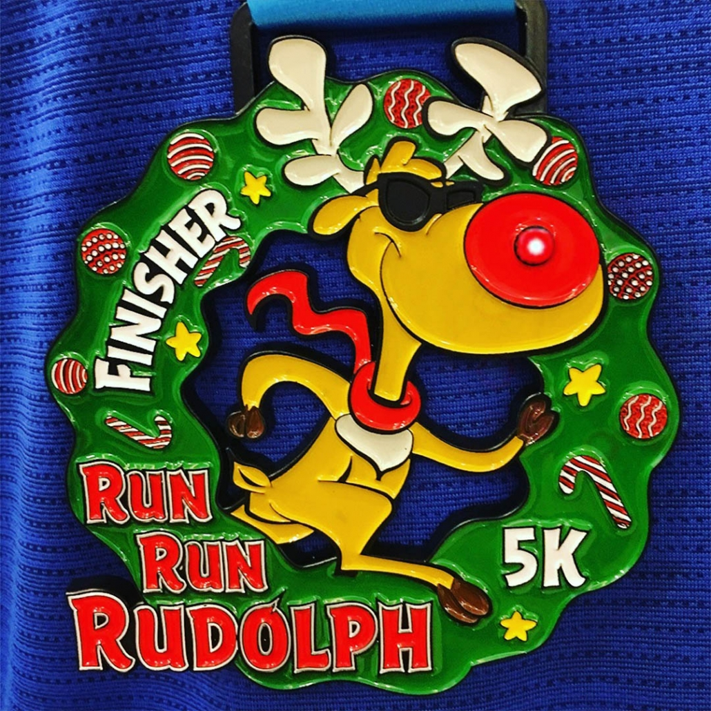 Reindeer Finisher Medal with Red Light Nose