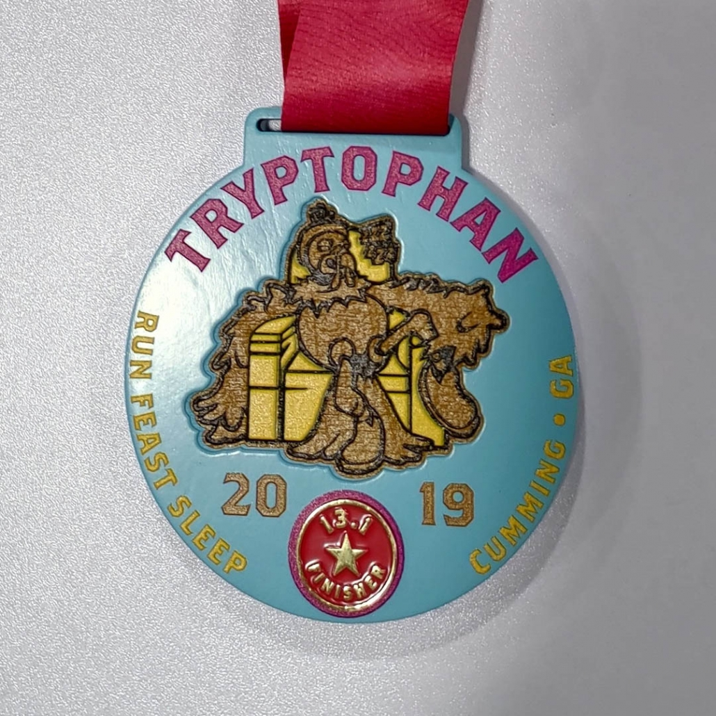 Wooden Finisher Medal with Turkey in Chair Half Marathon
